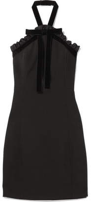 MICHAEL Michael Kors Ruffled Velvet-trimmed Crepe Halterneck Mini Dress - Black