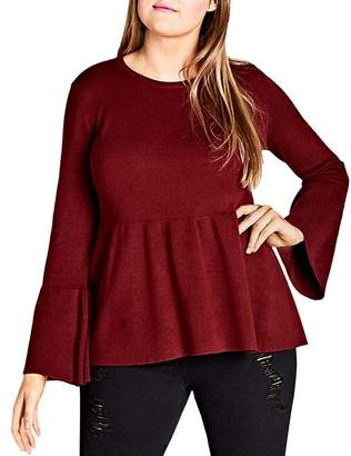 City Chic Plus Bell-Sleeve Sweater