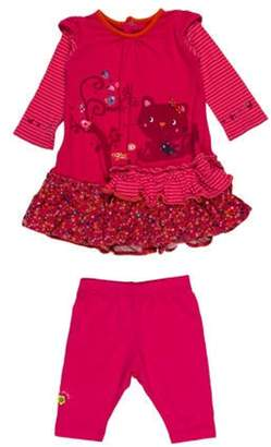 Catimini Girls' Tiered Two-Piece Dress Set magenta Girls' Tiered Two-Piece Dress Set