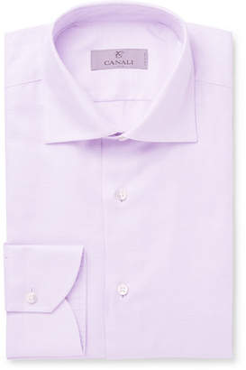 Canali Lilac Pin-Dot Cotton-Jacquard Shirt - Men - Purple