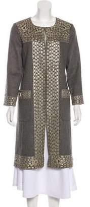 Oscar de la Renta Leather-Trimmed Camel Coat