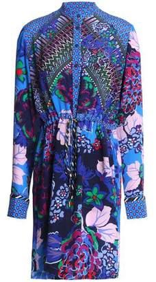 Saloni Leigh Printed Silk Mini Shirt Dress