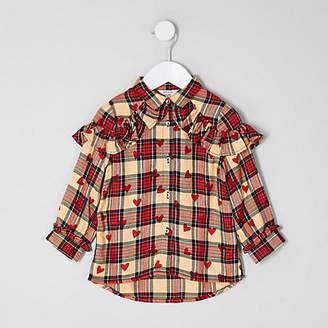 River Island Mini girls Red heart check print shirt