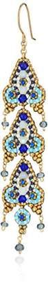 Miguel Ases Triple Fleur De Lis Vibrant Dangle Swarovski Drop Earrings