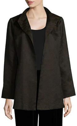 Eileen Fisher Jacquard Wave High Collar Jacket