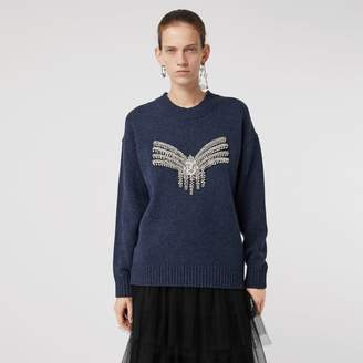 Burberry Crystal-embellished Merino Wool Sweater, Blue