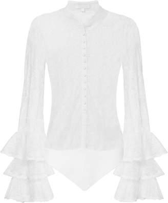 Jonathan Simkhai Tier-Sleeved White Lace Bodysuit