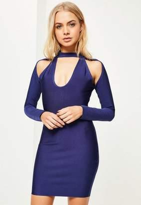 Missguided Navy Choker Cut Out Shoulder Bodycon Dress