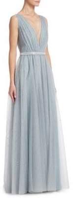 Jenny Packham Glitter Tulle V-Neck Gown