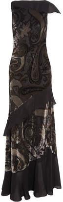 Ruffled Devoré Satin And Silk-chiffon Gown - Black