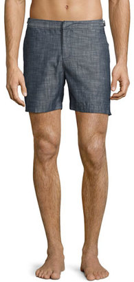 Orlebar Brown Bulldog Chambray Mid-Length Swim Trunks, Gray $265 thestylecure.com