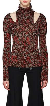 Chloé Women's Baroque-Print Knit Cutout Sweater - Red Pat.