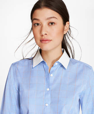 Brooks Brothers Petite Non-Iron Glen Plaid Stretch Cotton Poplin Fitted Shirt