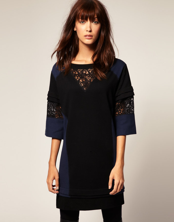 Emma Cook Sweatshirt Dress With Lace Insert