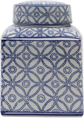 Medium Square Decorative Ceramic Ginger Jar with Lid