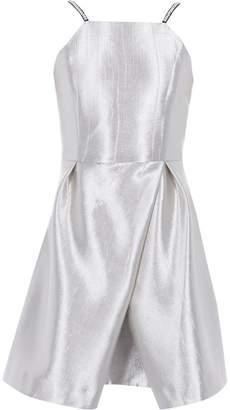 River Island Girls Silver metallic wrap skirt cami dress