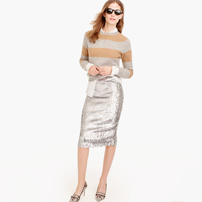 J.CrewSilver sequin skirt