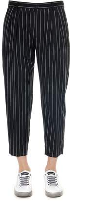 Dolce & Gabbana Black Pinstripe Stretch Wool Pants