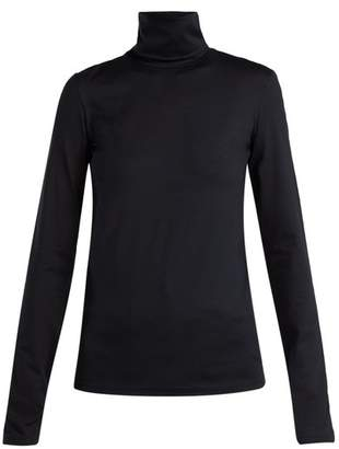 Jil Sander Roll Neck Cotton Blend Top - Womens - Navy