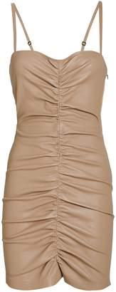 Sprwmn Shirred Bustier Leather Mini Dress