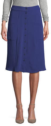 HIGHLINE COLLECTIVE Utility Crepe Button Front Midi Skirt