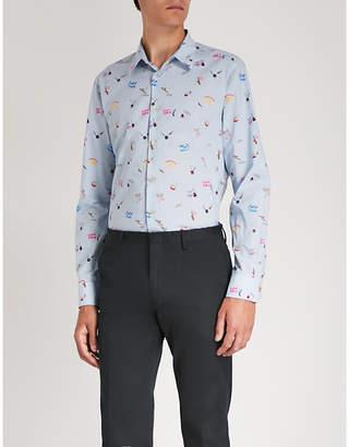Paul Smith Cocktail-print slim-fit cotton shirt