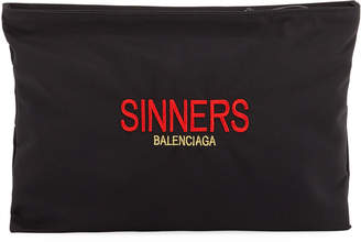 Balenciaga Sinners Carry Clip Embroidered Zip-Top Pouch