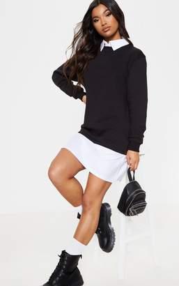 50db3d52 PrettyLittleThing Black Shirt Collar Jumper Dress