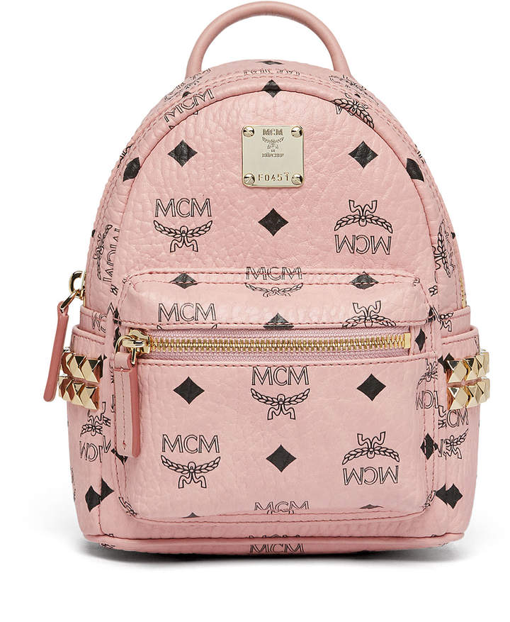 MCM Stark Bebe Boo Backpack In Side Studded Visetos