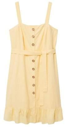 Violeta BY MANGO Buttoned linen-blend dress
