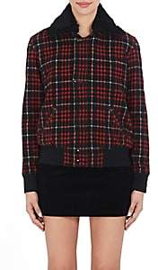 Saint Laurent Women's Plaid Wool-Blend & Shearling Jacket - Black