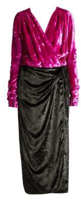 ATTICO Velvet& Satin Midi Robe Dress