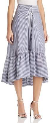 T Tahari Irena Striped High/Low Midi Skirt