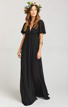 Show Me Your Mumu Faye Flutter Maxi Dress- Black Chiffon