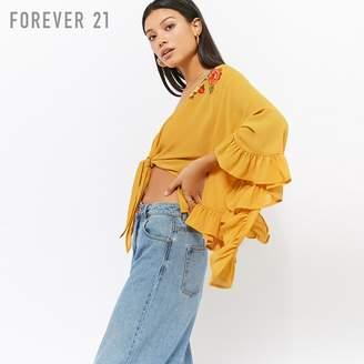 Forever 21 (フォーエバー 21) - Forever 21 フリルスリーブフロントリボンフラワーブラウス