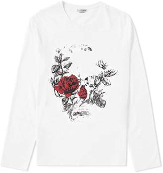 Alexander McQueen Long Sleeve Floral Skull Tee
