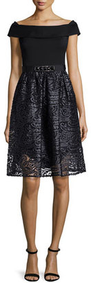 Rickie Freeman for Teri Jon Off-the-Shoulder Combo Lace Cocktail Dress $560 thestylecure.com
