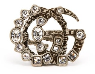 Gucci Gg Crystal Embellished Ring - Womens - Crystal