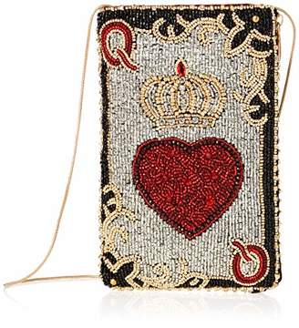 Mary Frances Queen of Hearts Beaded Playing Card Crossbody Phone Bag