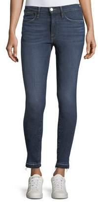 Frame Le High Side-Slit Skinny-Leg Jeans w/ Released Hem