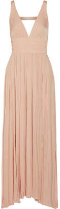Elizabeth and James - Ellison Smocked Satin Maxi Dress - Blush $425 thestylecure.com