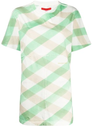 Eckhaus Latta Lattice check longline T-shirt