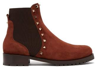 Valentino Rockstud Beatle Suede Chelsea Boots - Womens - Brown