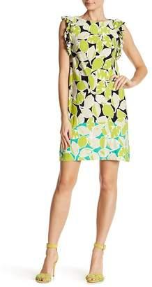 London Times Ruffle Trim Floral Print Dress