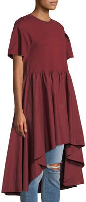 ENGLISH FACTORY Short-Sleeve Dramatic High-Low Top