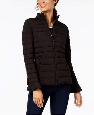 T Tahari Ruffle-Sleeve Puffer Coat