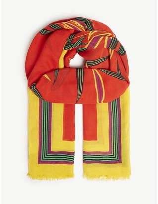 Diane von Furstenberg Quincy leaf print modal-blend scarf