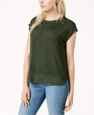 Bar III Ribbed-Trim High-Low Sweater, Created for Macy's