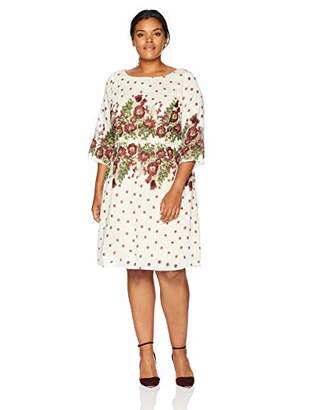 Gabby Skye Women's Plus Size 3/4 Sleeve Round Neck Organza A-line Dress