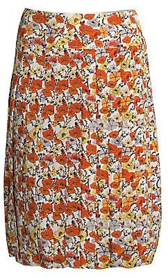 Tory Burch Women's Pleated Floral A-Line Skirt